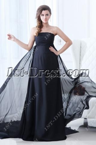 Superior Black Strapless Plus Size Evening Dress 2014