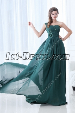 Superior Dark Green One Shoulder Evening Dress with Train