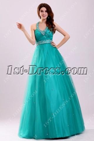 Teal Blue Halter Quinceanera Dresses for Plus Size