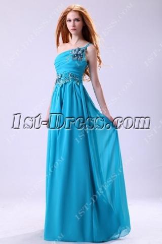 Teal Blue One Shoulder Chiffon Masquerade Evening Dress