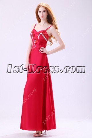 Tempting Burgundy Spaghetti Straps Homecoming Gown