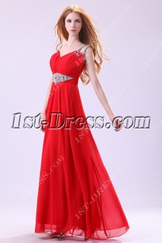 Tempting Red Beaded Long Celebrity Gown