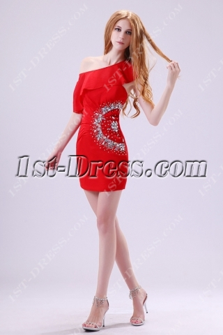 Unique Red One Shoulder Chiffon Homecoming Dress