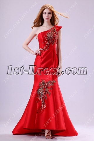 Unique Red One Shoulder Mermaid Evening Dress with Train