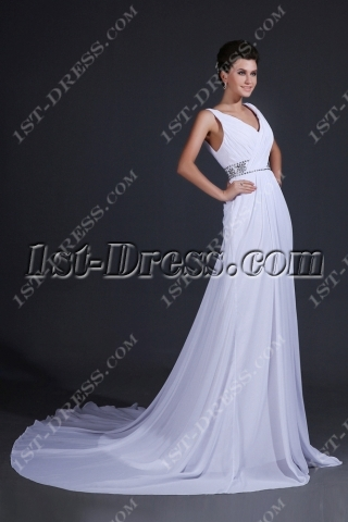 V-neckline Beach Wedding Dresses Casual 2014