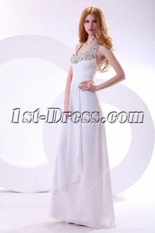 White Long Beaded Halter Graduation Dresses