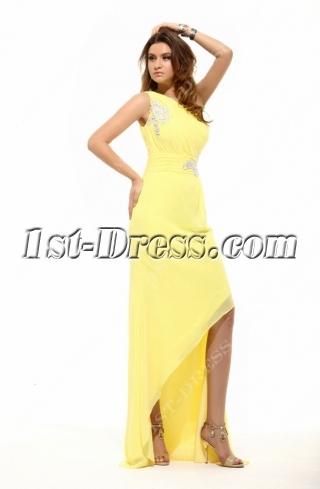 Yellow Elegant One Shoulder Asymmetrical Cocktail Dress