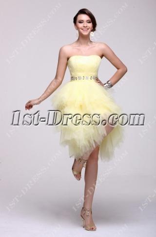 Yellow Strapless Short 15 Quinceanera Dress