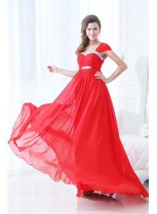2014 Red Straps Chiffon Full Figure Prom Dresses