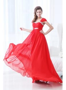 2014 Red Straps Chiffon Full Figure Prom Dresses