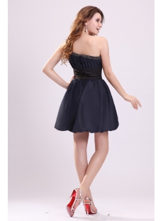 Amazing Navy Blue Bubble Skirt One Shoulder Cocktail Dress