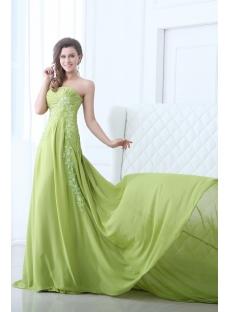 Attractive Green Chiffon Formal Evening Dress 2014