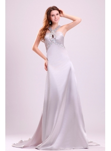 Beaded Silver Straps Pageant Dresses with Open Back