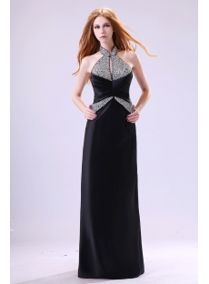 Black High Neckline Chi-pao Evening Dress