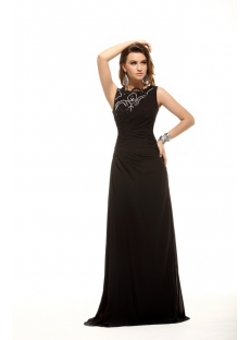 Black Modest A-line Long Prom Dress for Spring