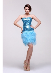 Blue Mini Short Sweetheart Prom Dresses