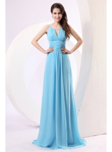 Blue Spaghetti Straps Chiffon Military Prom Dress