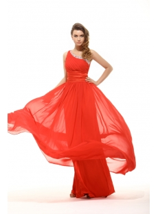 Brillian One Shoulder Red Long Prom Dress