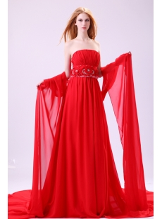 Brilliant Red Detachable Train Prom Dress 2014