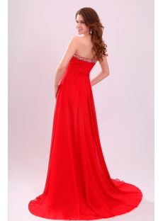 Brilliant Red Strapless Long Plus Size Prom Gown with Train