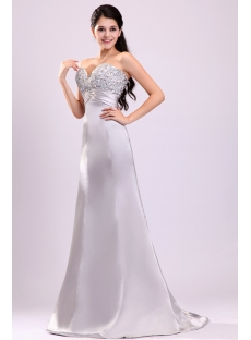 Brilliant Silver Jeweled Evening Dress for Petite Curvy Women