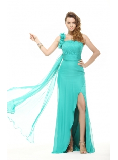 Brilliant Teal Blue Sexy One Shoulder 2014 Evening Dress
