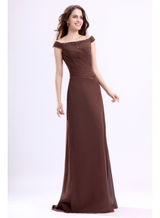 Brown Off Shoulder Mother of Groom Dress