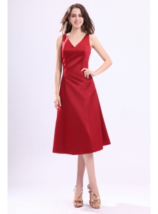 Burgundy V-neckline Satin Bridesmaid Gown under 100