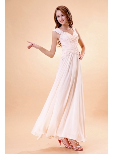 Champagne Long Formal Evening Dress with Cap Sleeves
