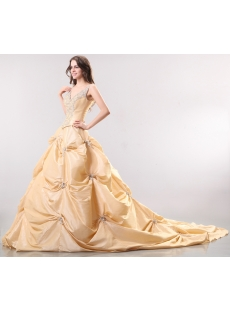 Champagne Luxurious Pick-up Wedding Dress with V-neckline