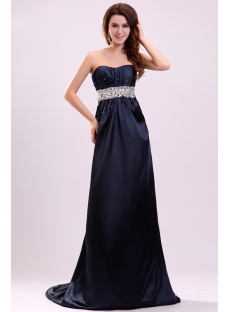 Charming Navy Blue Empire Plus Size Military Evening Dress