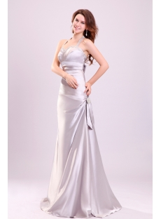 Charming Silver Halter Open Back Taffeta Evening Dress