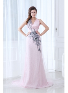 Chic Pink Straps Sheath V-neckline Evening Dress with Train