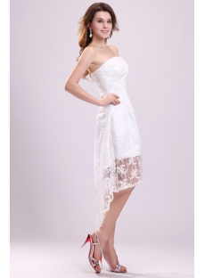 Chic Strapless High-low Lace Wedding Dresses Summer 2012