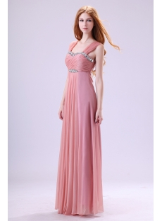Chic Straps Coral Evening Dress for Full Figure