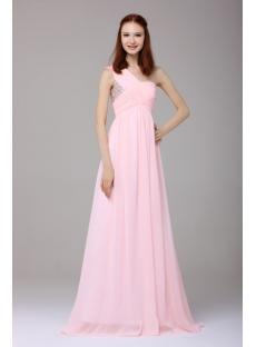 Concise Pink Chiffon One Shoulder Graduation Dress