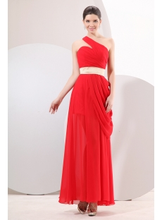 Concise Red Chiffon Cocktail Dress