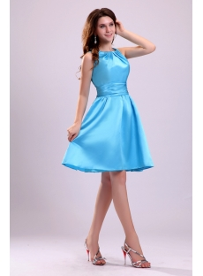 Cute Blue Straps Short Junior Cocktail Dress