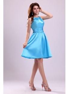 Cute Blue Straps Short Junior Cocktail Dress