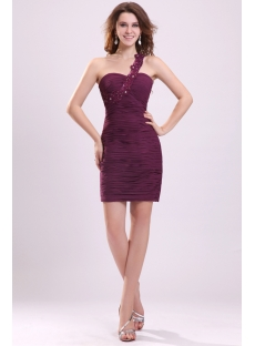 Cute Grape One Shoulder Mini Club Dresses for Teenagers