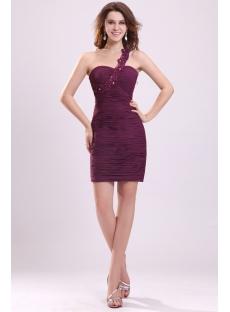 Cute Grape One Shoulder Mini Club Dresses for Teenagers