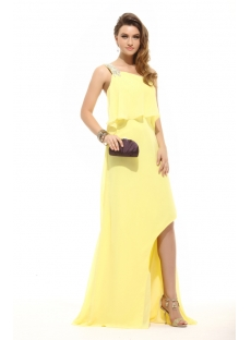 Cute Yellow One Shoulder Chiffon Celebrity Dress