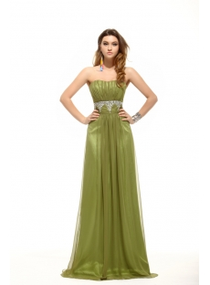 Dark Green Strapless A-line Long Prom Dress