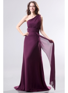 Dark Purple One Shoulder Chiffon Evening Dress with Train