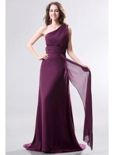 Dark Purple One Shoulder Chiffon Evening Dress with Train