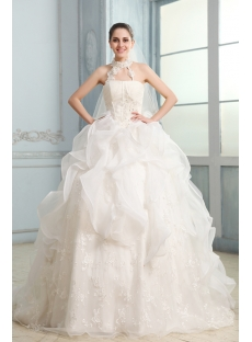 Dramatic Halter Ball Gown Chapel Train Ruffles Wedding Dress