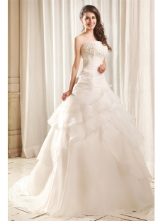 Dramatic Strapless A-line Wedding Dress with Corset