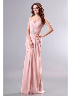Draped Coral Chiffon Column Evening Dresses