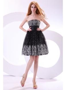 Elegant Black and Silver Short Junior Prom Dresses