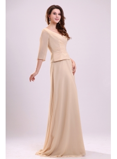 Elegant Champagne Chiffon Mother of Groom Dress with 3/4 Long Sleeves